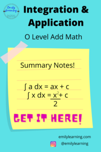 Summary of integration and its application for O level additional Mathematics