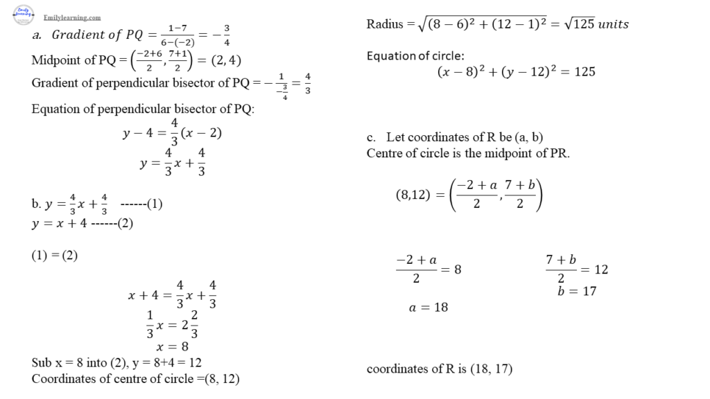 a math specimen paper 2 question 8 on coordinate geometry and circles