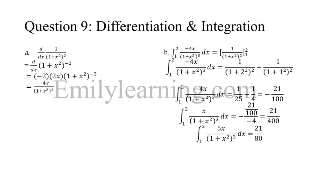 N level specimen paper 1 question 9 on differentiation and integration