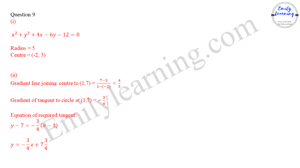 worked solutions of O Level A Math Paper 1 question 9 coordinate geometry of circles