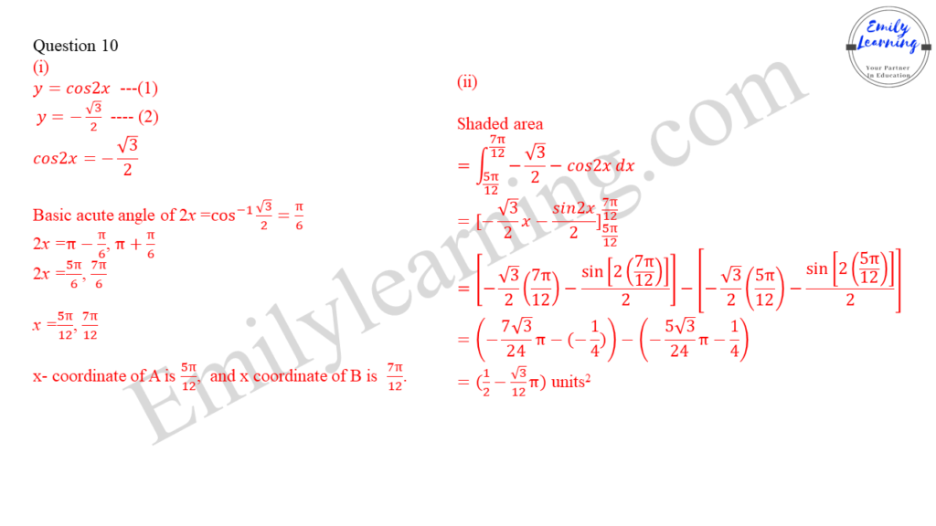 worked solutions of O Level A Math Paper 1 question 10 on finding area between curves using integration