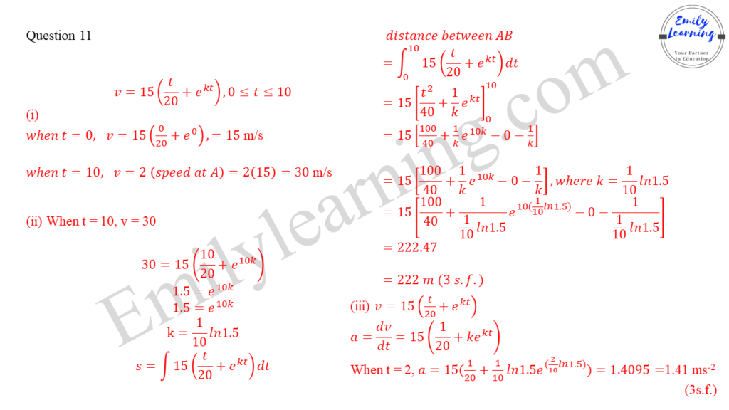 worked solutions of O Level A Math Paper 1 question 11 on kinematics