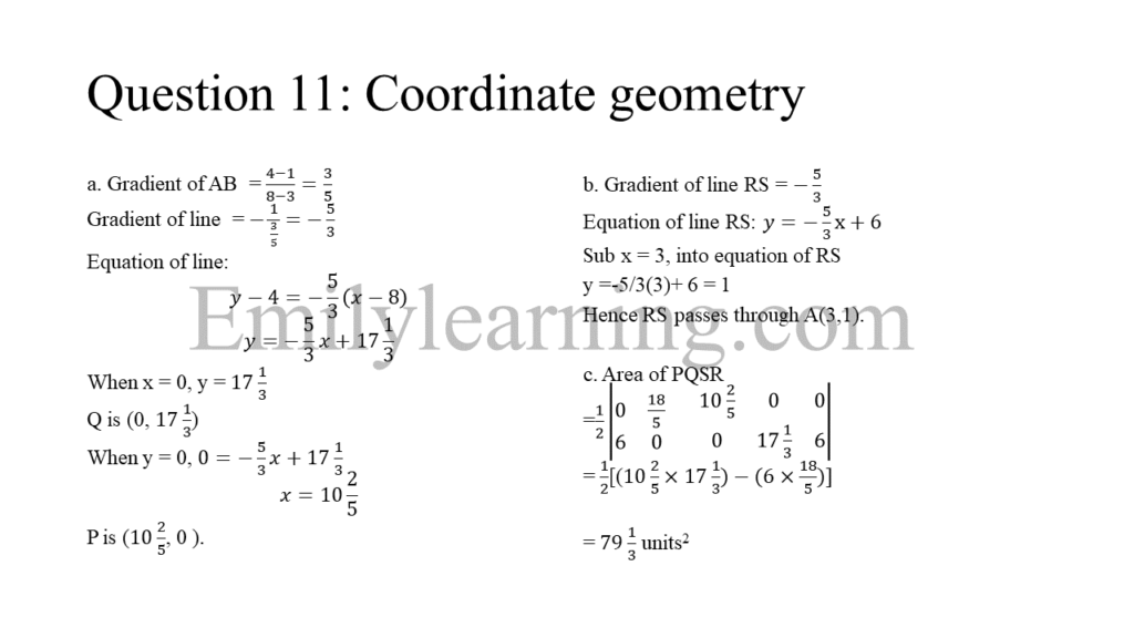 N level specimen paper 1 question 11 on coordinate geometry