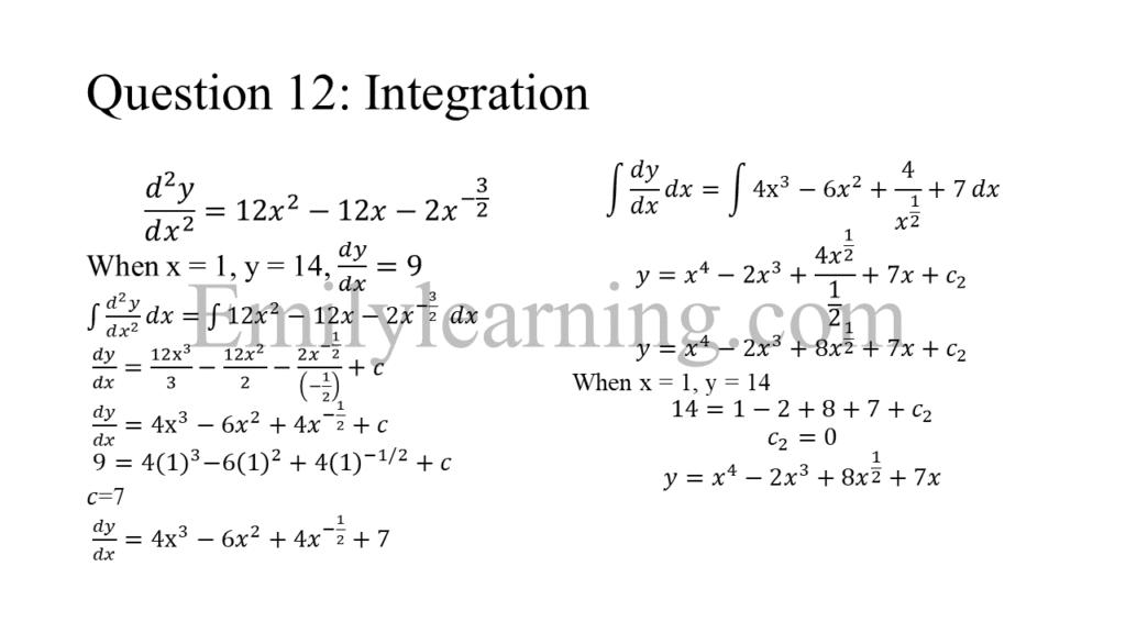 N level specimen paper 1 question 12 on integration