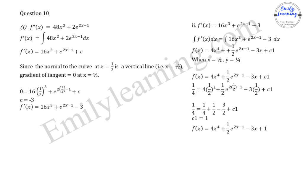 worked solutions of O Level A Math Paper 2 question 10 on integration