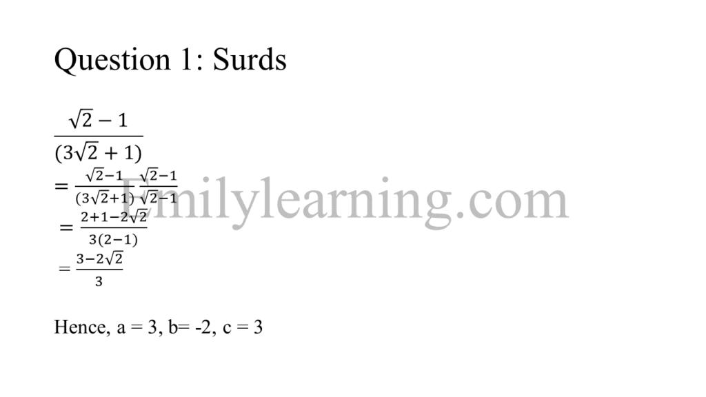 N level specimen paper 1 question 1 on surds