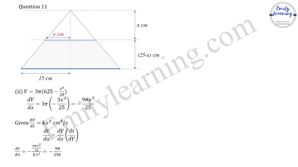 worked solutions of O Level A Math Paper 2 question 11 on rate of change, chain rule, differentiation and integration