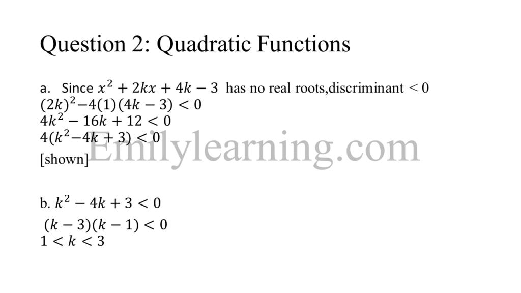 N level specimen paper 1 question 2 on quadratic functions