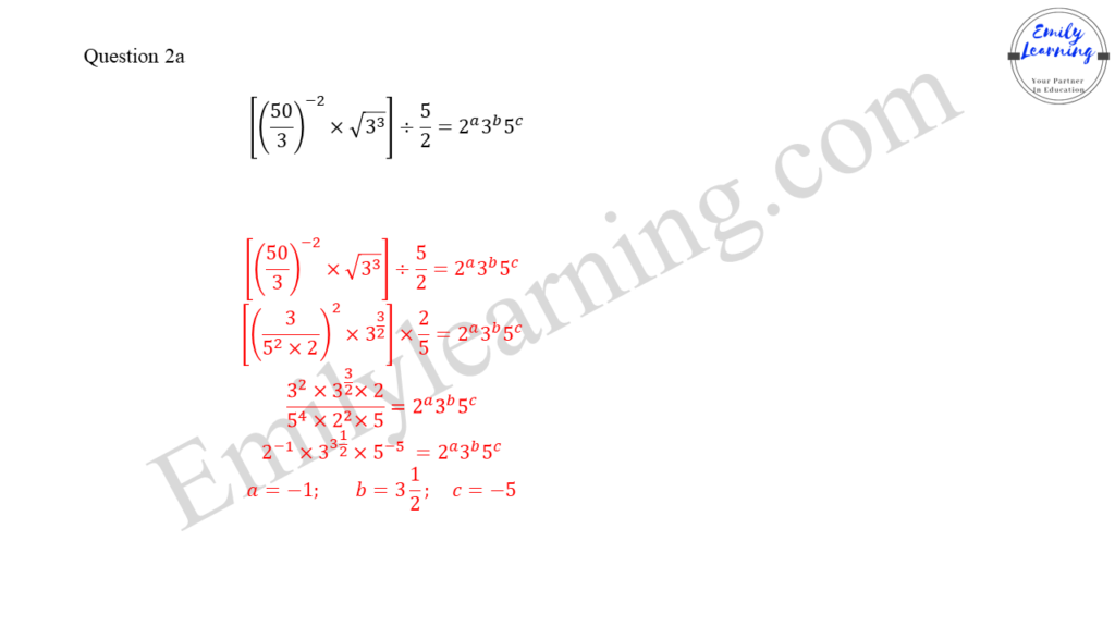worked solutions of O Level A Math Paper 1 question 2 part a on indices and surds
