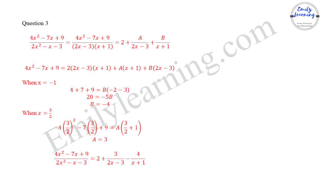 worked solutions of O Level A Math Paper 1 question 3 on partial fractions