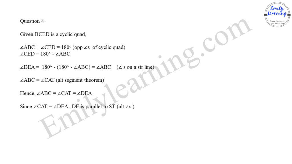 worked solutions of O Level A Math Paper 2 question 4 on proofs in plane geometry