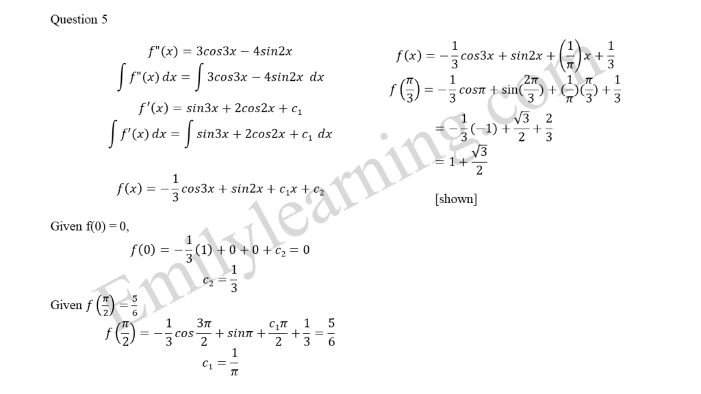 A Math 2019 Paper 2 Question 5 answers