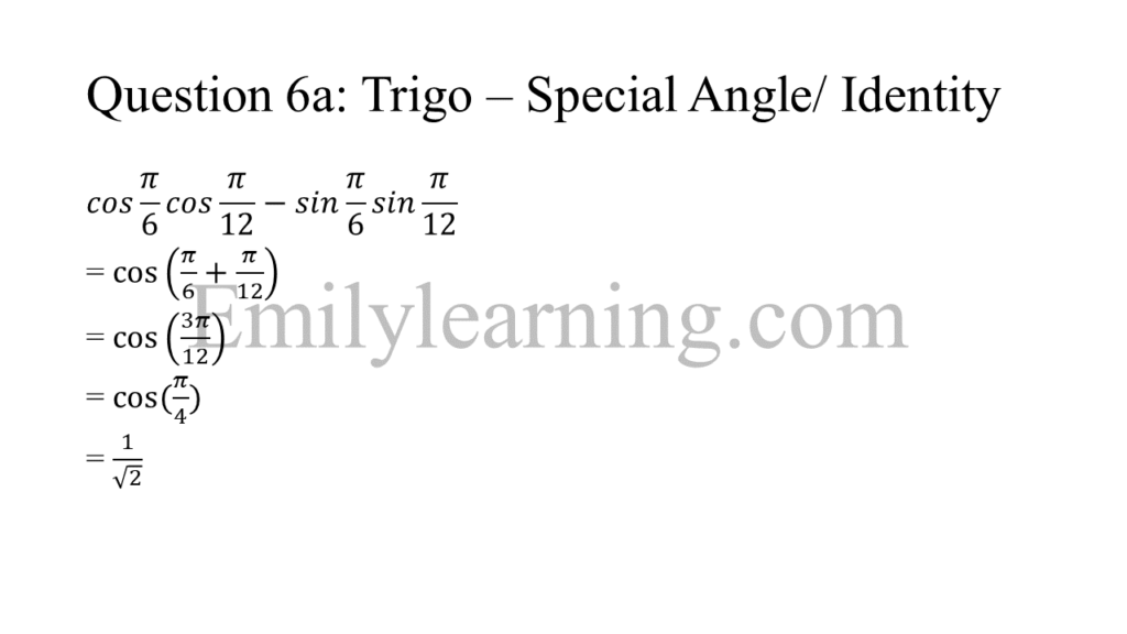 N level specimen paper 1 question 6 part a on trigonometry special angles