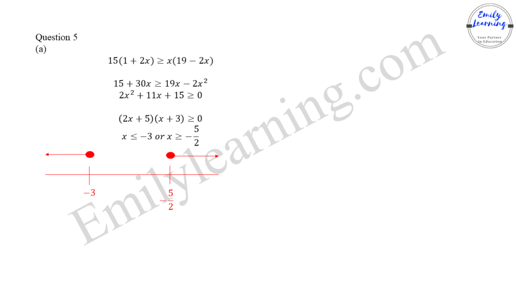 worked solutions of O Level A Math Paper 2 question 5 on  quadratic inequalities