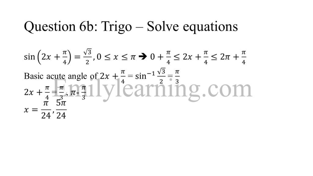 N level specimen paper 1 question 6b part a on solving trigonometry equations