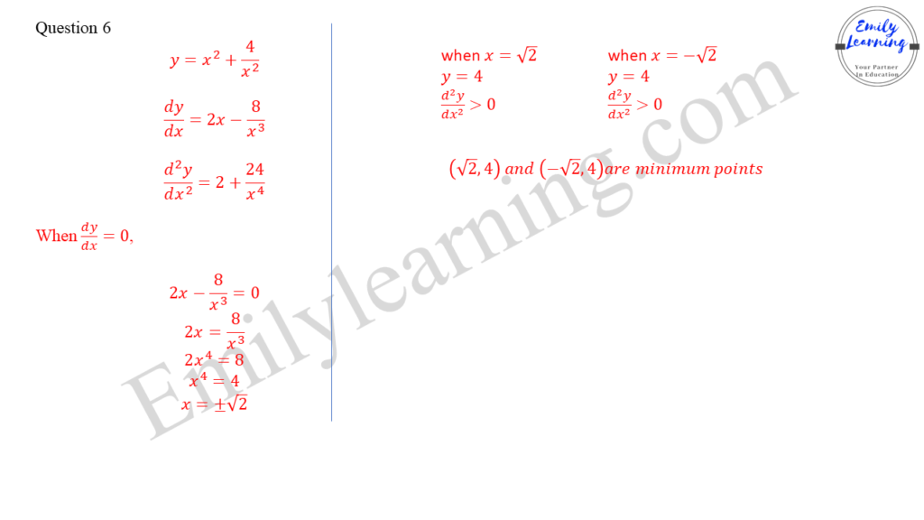 worked solutions of O Level A Math Paper 1 question 6 on finding stationary points using differentiation