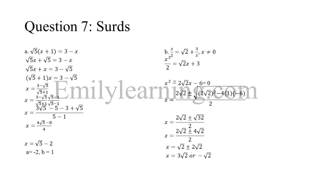 N level specimen paper 1 question 7 on surds