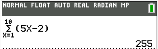 Using the TI-84 Graphic calculator to find sum of AP  (arithmetic progression)